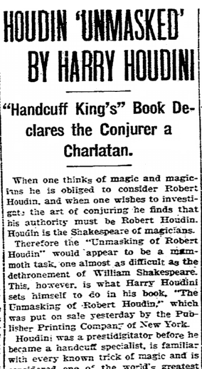 Houdin 'Unmasked' by Harry Houdini, Boston Herald newspaper article 5 May 1908