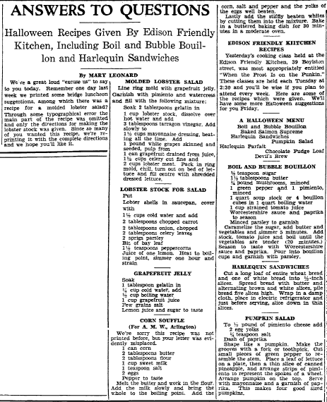 Halloween recipes, Boston Herald newspaper article 28 October 1931