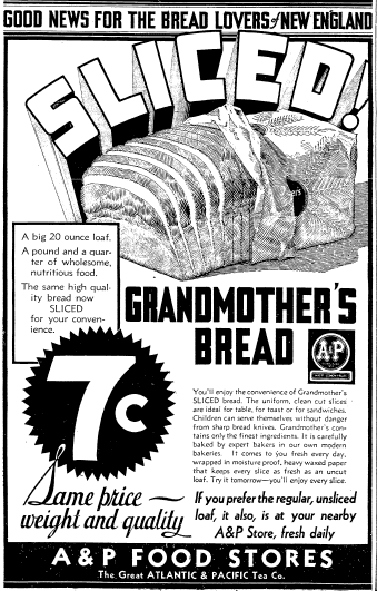 ad for sliced bread, Boston Herald newspaper advertisement 28 October 1931