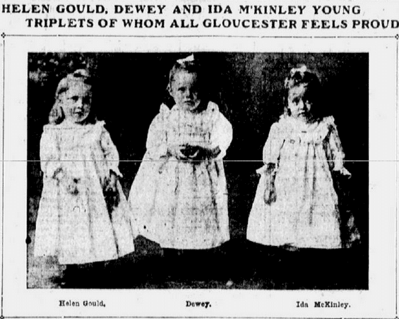 article about the McKinley triplets, Boston Journal newspaper article 3 March 1904