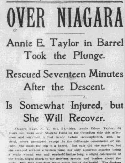 article about Annie Edson Taylor, the first person to go over Niagara Falls in a barrel, Boston Journal newspaper article 25 October 1901