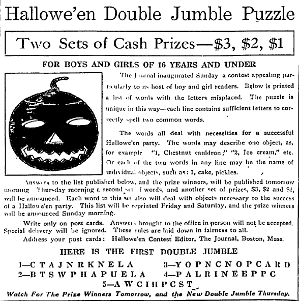puzzle contest, Boston Journal newspaper article 25 October 1910