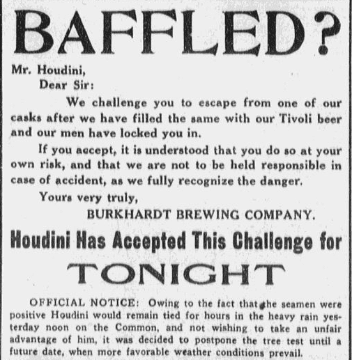 ad challenging the magician Harry Houdini, Boston Journal newspaper advertisement 20 November 1914
