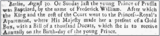 article about the birthday of Frederick William, Boston News-Letter newspaper article 21 May 1711