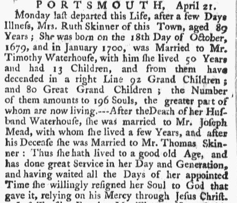 obituary for Ruth Skinner, Boston Post-Boy newspaper article 24 April 1769