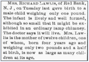 article about Mrs. Richard Lawlis giving birth to a premature baby, Columbus Daily Enquirer newspaper article 13 February 1884