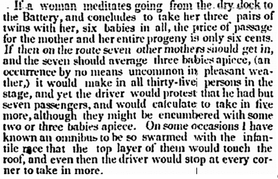 article about babies being allowed to ride for free on stagecoaches, Commercial Advertiser newspaper article 13 November 1846
