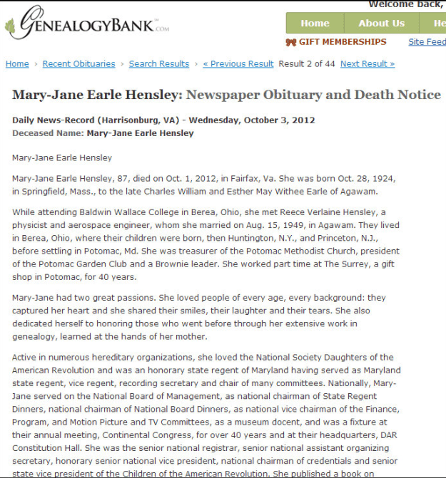 obituary for Mary-Jane Earle Hensley, Daily News Record newspaper article 3 October 2012