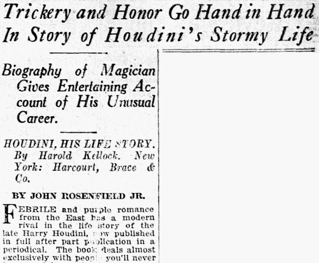 article about the magician Harry Houdini, Dallas Morning News newspaper article 24 June 1928
