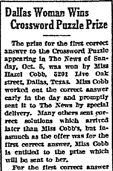 Dallas Woman (Hazel Cobb) Wins Crossword Puzzle Prize, Dallas Morning News newspaper article 12 October 1924