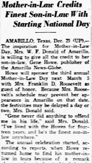 article about Mother-in-Law Day, Dallas Morning News newspaper article 26 December 1937
