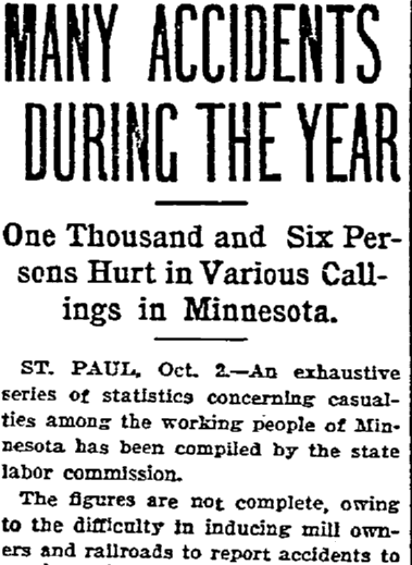 Many Accidents During the Year, Duluth News-Tribune newspaper article 3 October 1903