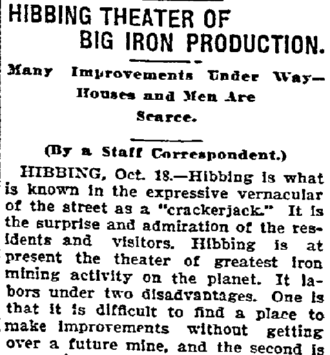 Hibbing Theater of Big Iron Production, Duluth News-Tribune newspaper article 19 October 1902