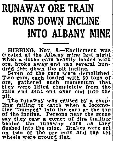 article about a train accident at the Albany Mine, Duluth News-Tribune newspaper article 5 November 1916