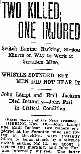 article about a train accident at the Scranton Mine, Duluth News-Tribune newspaper article 11 November 1911