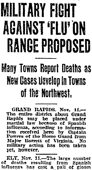 article about the Spanish flu, Duluth News-Tribune newspaper article 12 November 1918
