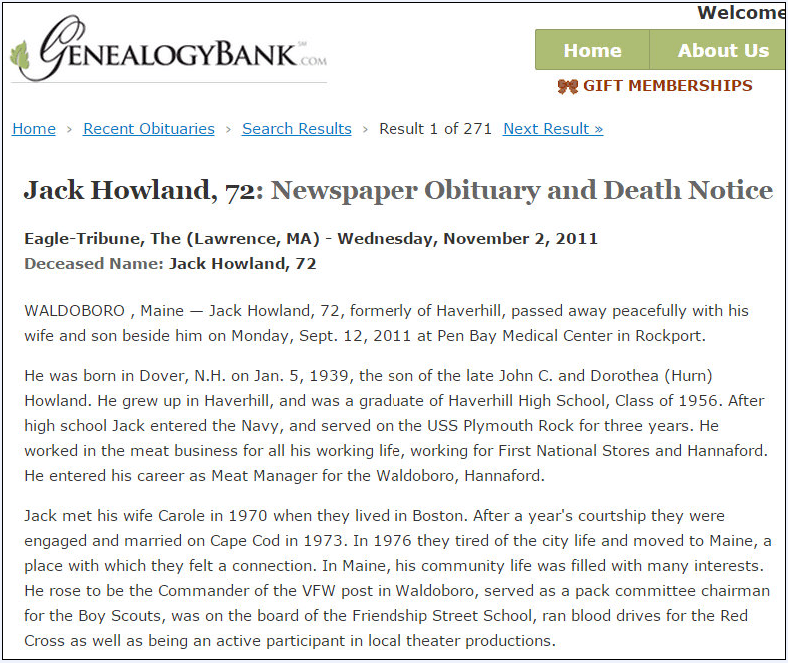 obituary for Jack Howland, Eagle Tribune newspaper article 2 November 2011