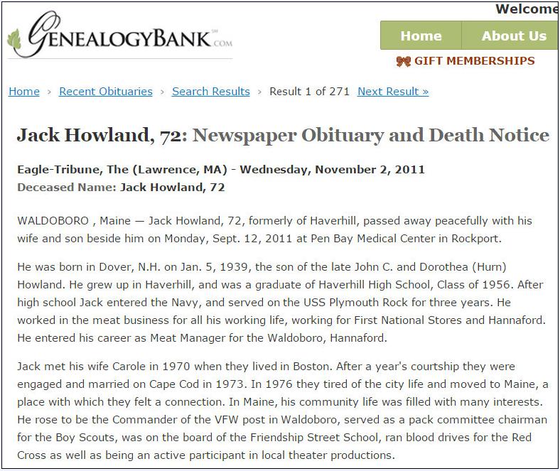 obituary for Jack Howland, Eagle Tribune newspaper article 2 November 2011