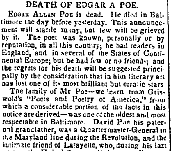 obituary for Edgar Allan Poe, Enquirer newspaper article 16 October 1849