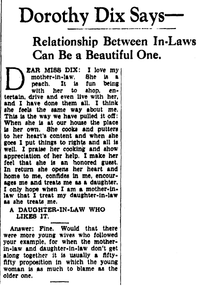 article about mothers-in-law, Evening Star newspaper article 5 April 1938
