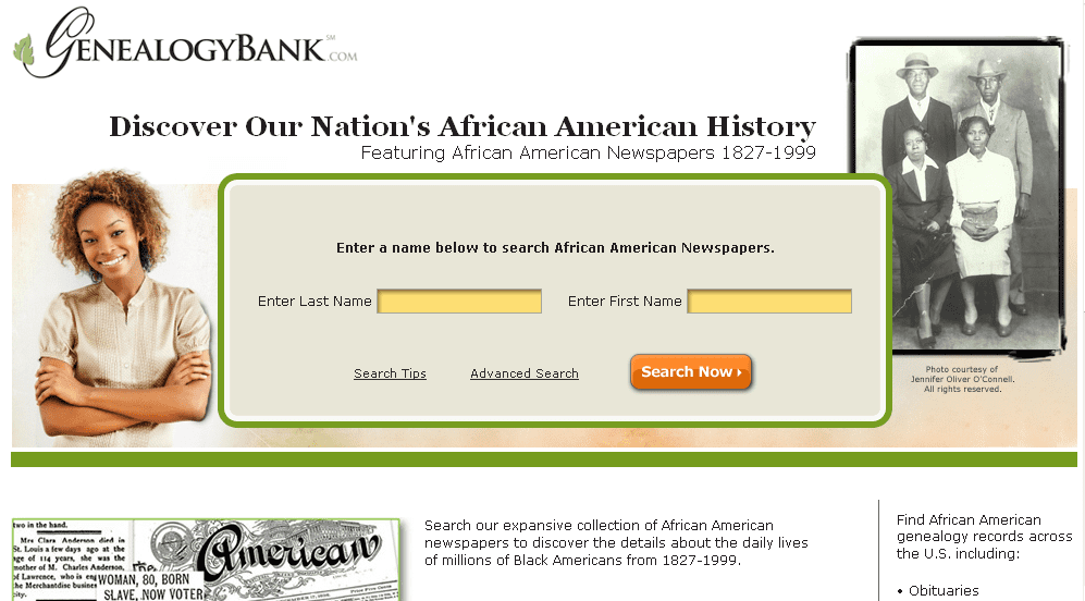 screenshot of the search page for GenealogyBank's African American Newspaper Archives