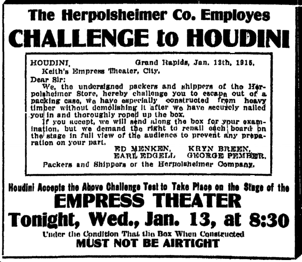 ad challenging the magician Harry Houdini, Grand Rapids Press newspaper article 13 January 1915