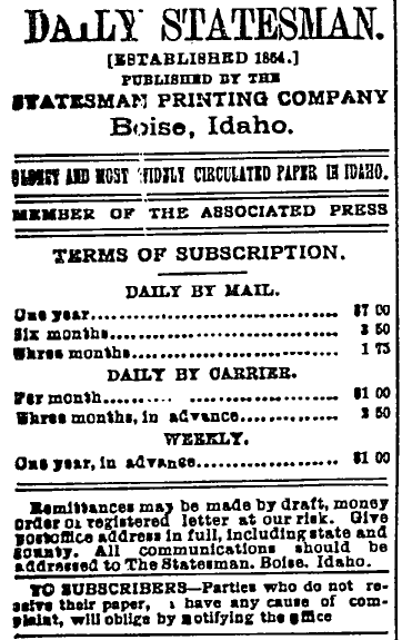 subscription rates for the Idaho Statesman, Idaho Statesman newspaper advertisement 10 August 1898