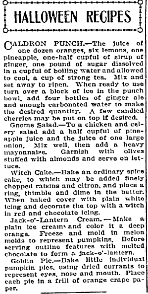 Halloween Recipes, Idaho Statesman newspaper article 20 October 1912