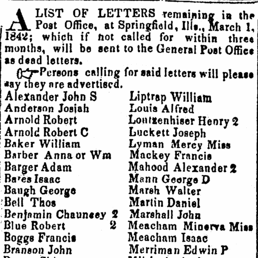 uncollected mail list, Illinois Weekly State Journal newspaper article 11 March 1842