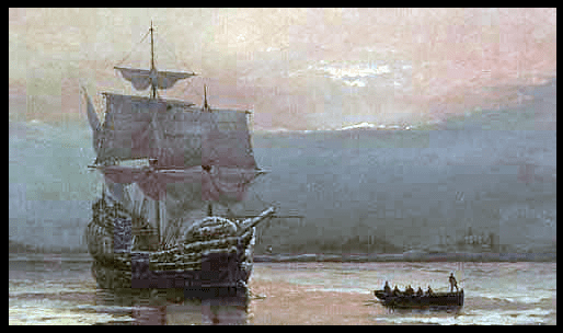 "painting: ""Mayflower in Plymouth Harbor"" by William Halsall, 1882"