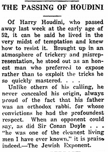 article about the death of the magician Harry Houdini, Jewish Chronicle newspaper article 12 November 1926
