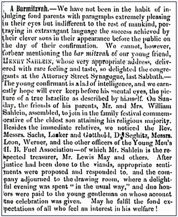 article about Henry Sahlein's barmitzvah, Jewish Messenger newspaper article 16 January 1863