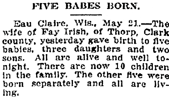 Five Babies Born, Kalamazoo Gazette newspaper article 22 May 1909