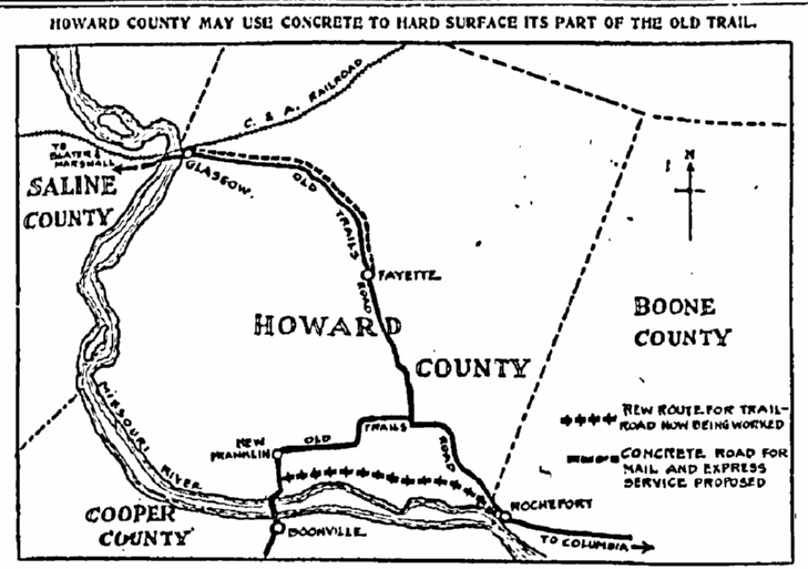 trail map of Howard County, Missouri, Kansas City Star newspaper article 11 November 1915