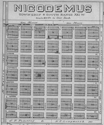 plat map for Nicodemus, Kansas, a historic black town