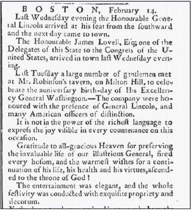 article about a celebration for George Washington's birthday, Massachusetts Spy newspaper article 21 February 1782
