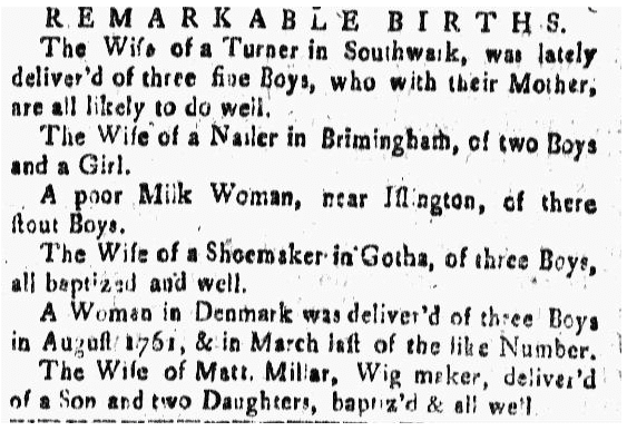 birth announcements for triplets, New-Hampshire Gazette newspaper article 2 October 1767