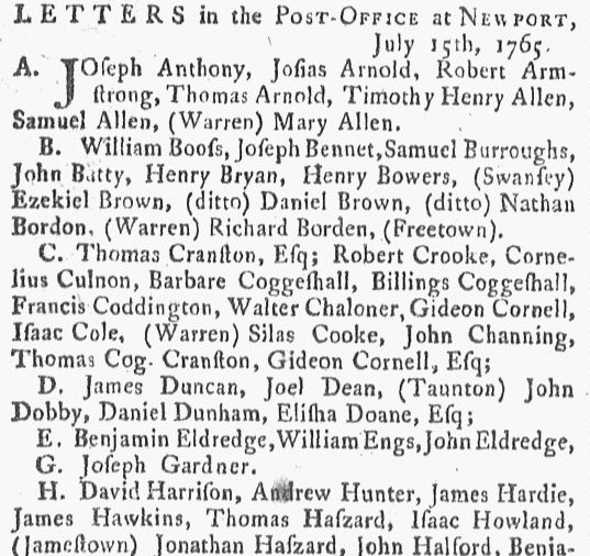 Letters in the Post-Office at Newport, Newport Mercury newspaper article 15 July 1765