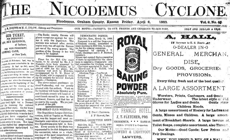 front page of the Nicodemus Cyclone newspaper 6 April 1888