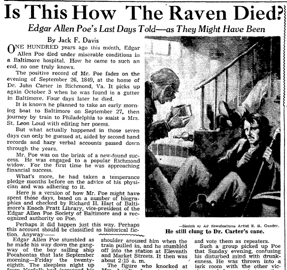 article about the death of Edgar Allan Poe, Omaha World Herald newspaper article 2 October 1949