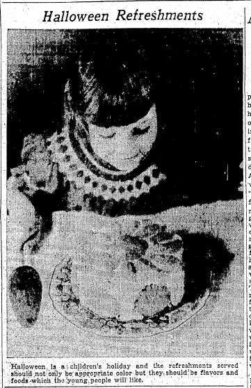 photo of a girl and a Halloween cake, Oregonian newspaper article 26 October 1935