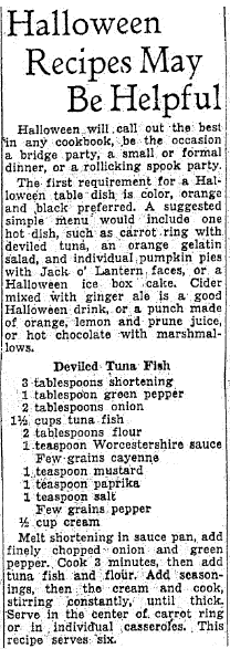 Halloween Recipes May Be Helpful, Oregonian newspaper article 26 October 1935