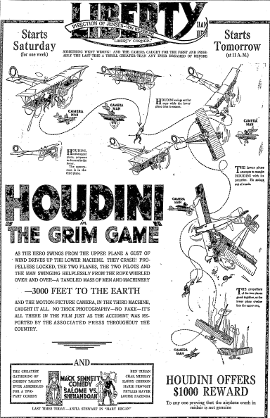 "article about the magician Harry Houdini in the movie ""The Grim Game,"" Oregonian newspaper article 31 October 1919"