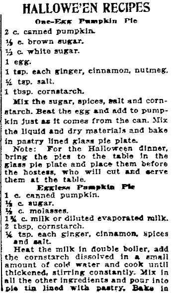 Halloween recipes, Patriot newspaper article 17 October 1919