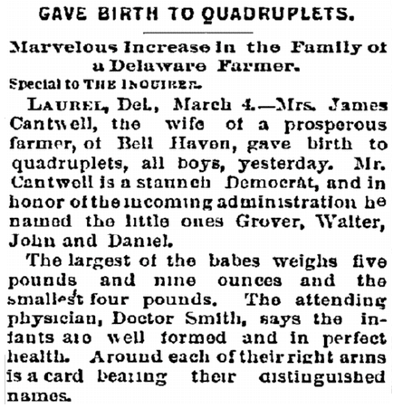 Gave Birth to Quadruplets, Philadelphia Inquirer newspaper article 5 March 1893