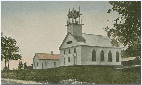 photo of the Bay Meeting House, Sanbornton, New Hampshire, built in 1836