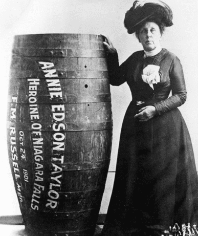 photo of Annie Edson Taylor, the first person to go over Niagara Falls in a barrel