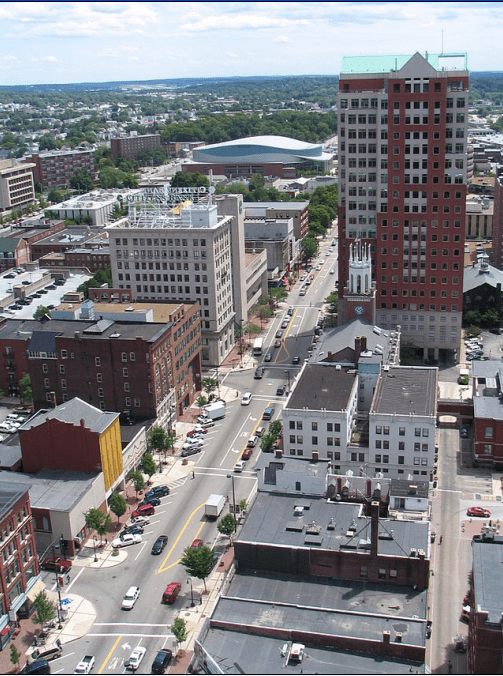 Photo showing the view of Elm Street in Manchester, New Hampshire, looking south