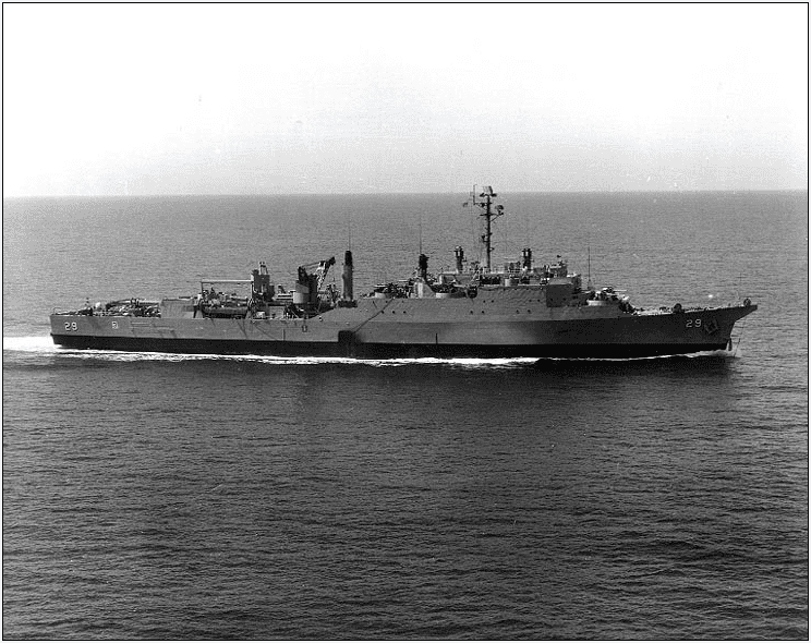 photo of the USS Plymouth Rock underway, 8 April 1963
