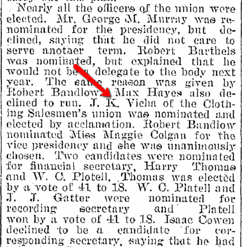 article about Joseph Vicha being elected president of the Central Labor Union, Plain Dealer newspaper article 9 January 1896